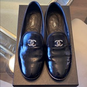 Chanel Patent Black Loafers Flats